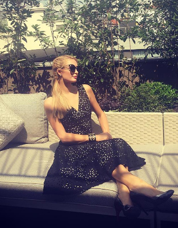 Alice + Olivia Lyla Laser-Cut Top + Skirt as seen on Paris Hilton Instagram during her stay in Milan, Italy.