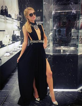 Philipp Plein Torn Evening Dress and Philipp Plein Precious Pumps as seen on Paris Hilton Instagram.
