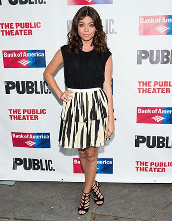 Sarah Hyland wearing a pair of Jimmy Choo 'Ren 85' Black Suede Sandals in New York on June 13, 2016.