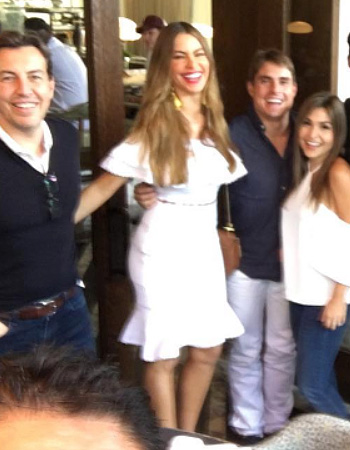 Sofia Vergara wears a Alexander McQueen Off-the-shoulder Ruffled Crop Top and matching skirt on Instagram.