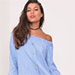 Lasula In A Knot Off Shoulder Light Denim Dress
