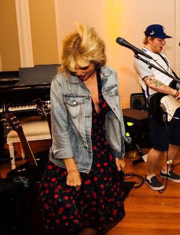 Taylor Swift wears a custom made Rails Knox Denim Jacket in Instagram shot, July 2016.