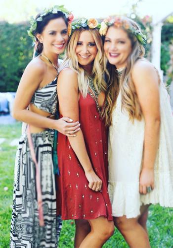 Ashley Tisdale wears a Free People Rising Sun Slip in Rust on Instagram, July 2016.