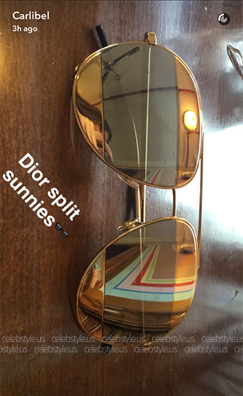 Dior Split1 Metal Aviator Sunglasses as seen on YouTuber Carli Bybel's Snapchat, July 2016.