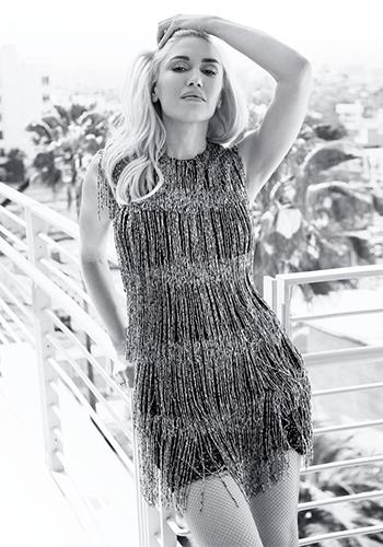 Gwen Stefani in a Burberry Prorsum Bugle Bead Fringe Shift Dress for Harper's Bazaar US August 2016.