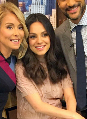 Mila Kunis promotes new movie Bad Moms, wearing a Ulla Johnson Elena Embroidered Cotton Dusty Rose Silk Dress on Live with Kelly in NYC on July 20, 2016.