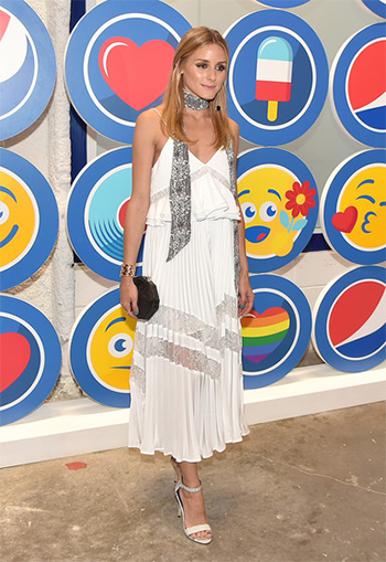 Olivia Palermo wears a Self-Portrait Amelia Lace-paneled Midi Dress Opening Party and Celebration of LOVE: From Cave to Keyboard, Imagined by Pepsi in NYC on July 14, 2016.