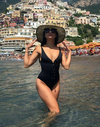 Nasty Gal Factory Hayden Lace-up Swimsuit as seen on Vanessa Hudgens vacationing in Italy, July 2016.
