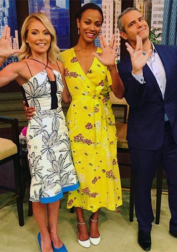 Zoe Saldana wearing a A.L.C. Stephanie Floral-Print Wrap Dress on Live with Kelly, July 2016.
